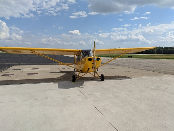 The Aeronca 7AC Champ N85748 Benjamin Constantine is currently flying. It's owned by the flying club Yellow Bird Flyers Association, which consists of 6 people, including myself. The aircraft is a 7AC that has had a C85 conversion w/ electric start and wing tanks added.